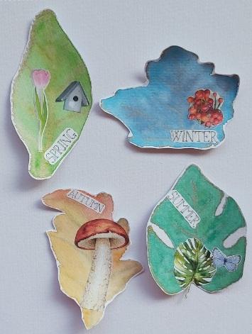 Amazing Mail ART: Leaf Shape ATC - October 2020